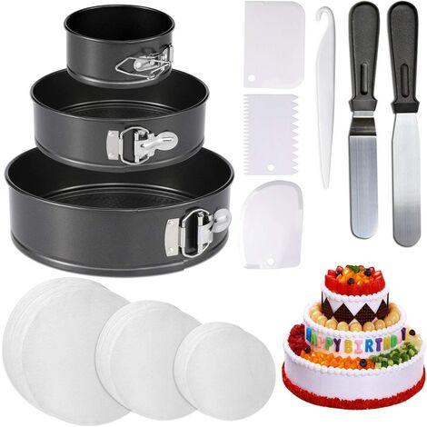 """4 moules à gâteau à charnière """"7"""" 9 """"et 150 cartons en papier parchemin"""