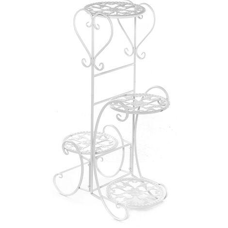 4 niveaux de support de plante en métal support de pot de fleur Blanc