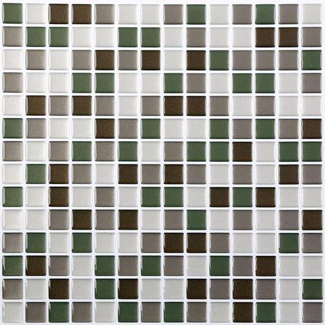 4 Pack effet de gel 3D autocollants Mosaic. Auto-adhésif en vert, brun foncé, brun clair et blanc. 25,4 cm x 25,4 cm. Auto-adhésif en vinyle Mosaic. (3D0003)