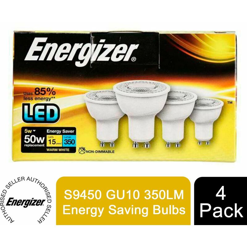 Image of 4 Pack LED S9450 GU10 350LM Energy Saving Bulbs - Energizer