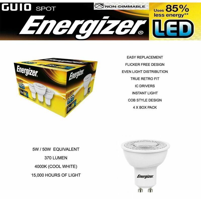 Image of 4 Pack LED S9451 GU10 370LM Energy Saving Bulbs - Energizer