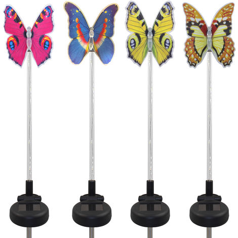4 Pack LED Solar Garden Stake Light Multi Color-Changing Butterfly