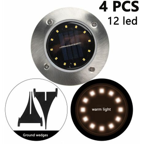 4 Pack Solar Disk Lights 12 LED Solar Ground Lights Outdoor Waterproof Stainless Steel in Ground Solar Lights for Walkway Pathway Lawn Patio Yard Garden, warm light
