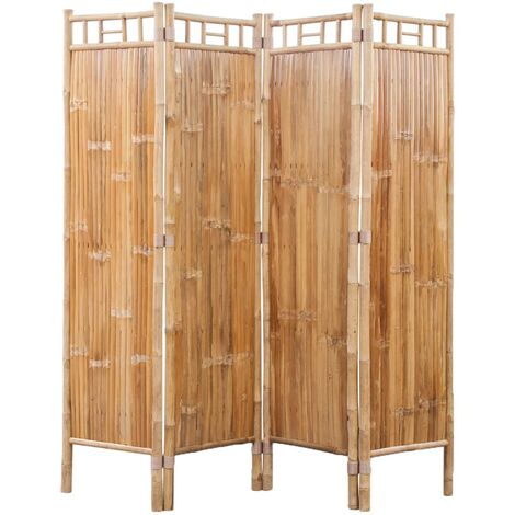 "main image of ""4-Panel Bamboo Room Divider - Brown"""