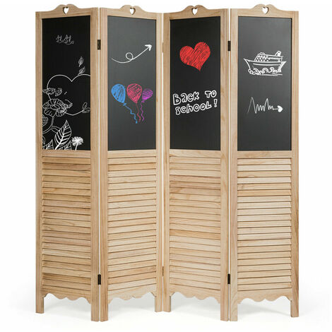 4 Panel Folding Divider Screen Home Room Decoration Protective DIY Chalkboard