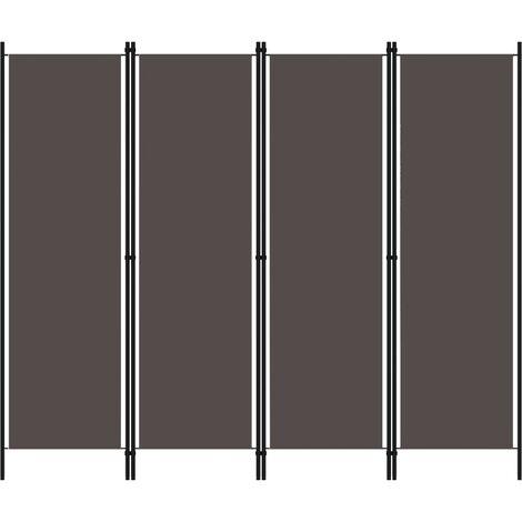 4-Panel Room Divider Anthracite 200x180 cm