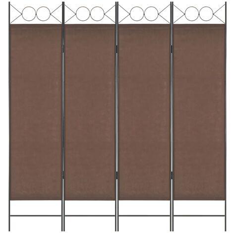 4-Panel Room Divider Brown 160x180 cm