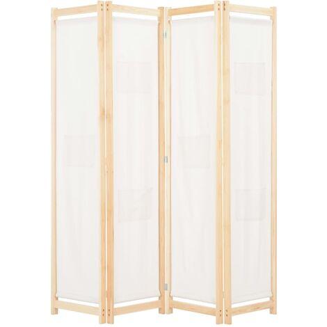 4-Panel Room Divider Cream 160x170x4 cm Fabric