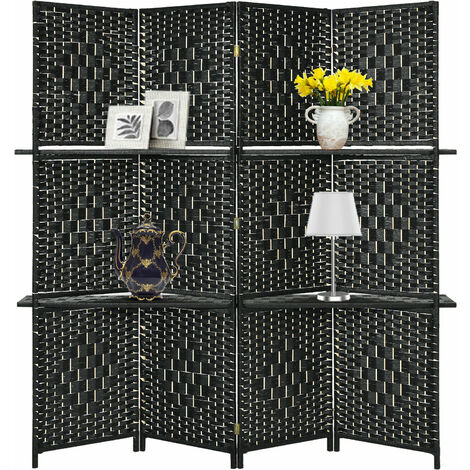 """main image of """"4 Panel Room Divider Folding Privacy Screen with 2 Removable Display Shelves"""""""