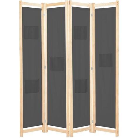 4-Panel Room Divider Grey 160x170x4 cm Fabric