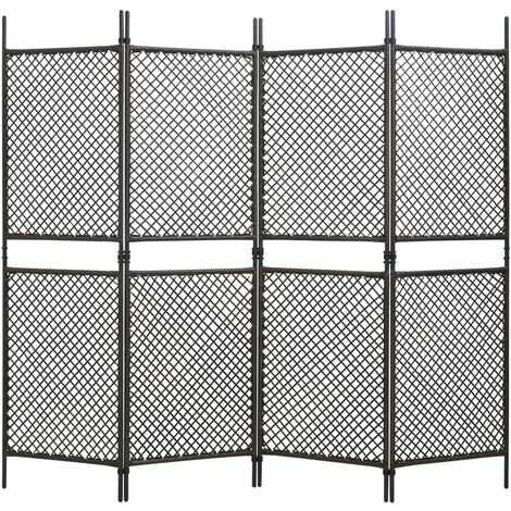 4-Panel Room Divider Poly Rattan Brown 240x200 cm