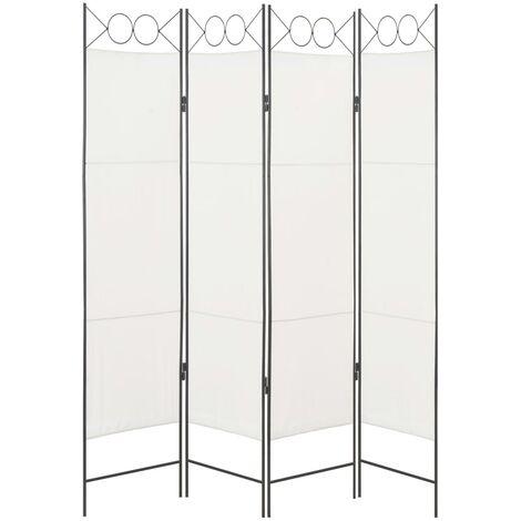 4-Panel Room Divider White 160x180 cm Fabric