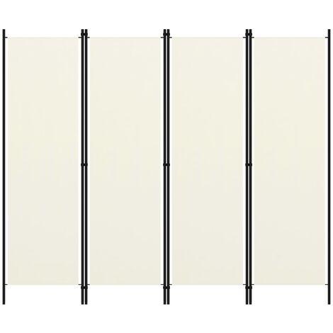 4-Panel Room Divider White 200x180 cm