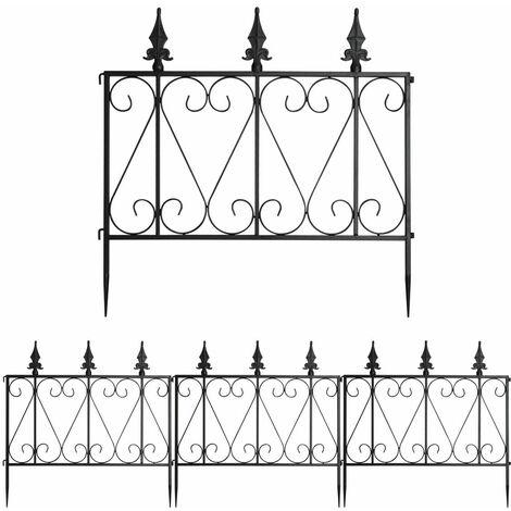 4 Panels Steel Decorative Garden Fence Lawn Border Edge Landscaping Interlocking