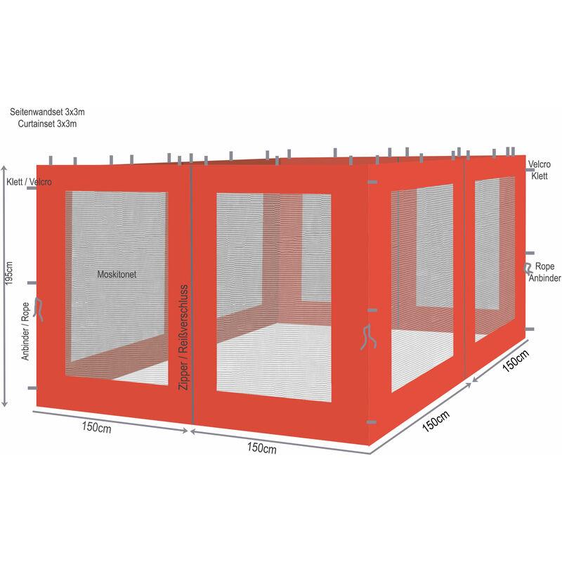 4 panneaux latéraux avec moustiquaire 300x195cm orange-rouge pour gazebo 3x3m