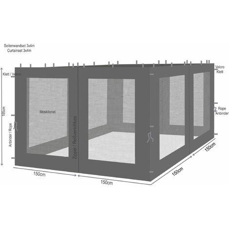 """main image of """"4 panneaux latéraux avec moustiquaire 300x195cm Anthracite pour gazebo 3x3m"""""""