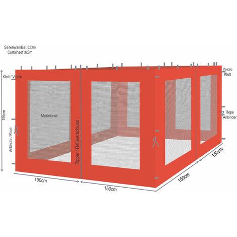 """main image of """"4 panneaux latéraux avec moustiquaire 300x195cm orange-rouge pour gazebo 3x3m"""""""