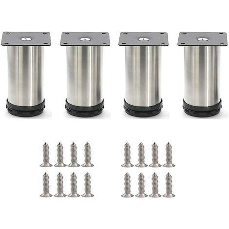 4 Pcs 50 x 60 mm Pieds de meubles de cuisine en acier inoxydable Autour des Pieds de Meubles Réglables Ronds