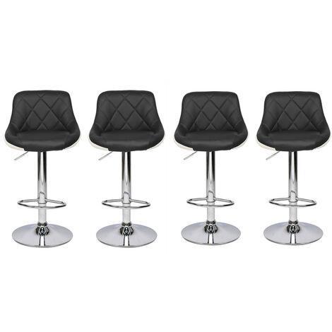 "main image of ""4 pcs adjustable height bar stool 360°leather rotating bar stool counter kitchen Black - Black"""