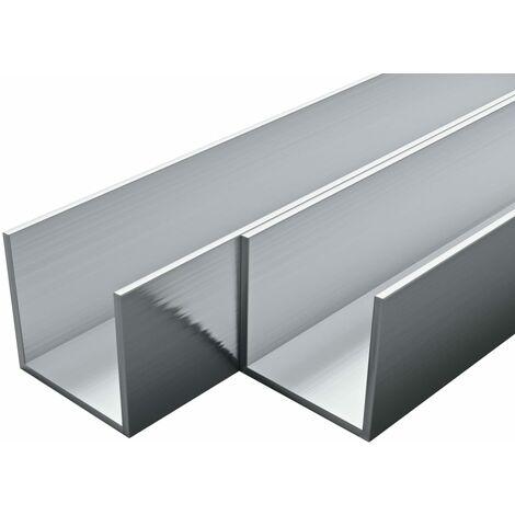 4 pcs Aluminium Channels U Profile 2m 20x20x2mm