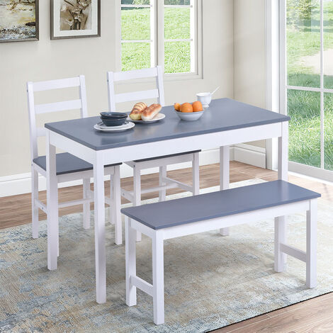 """main image of """"4 Pcs Dining Table Set, Solid Pine Kitchen Table and Seater Set, with 2 Chairs and 1 Bench, for Kitchen Dining Room"""""""