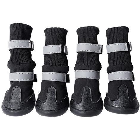 4 Pcs Dog Boots Warm And Waterproof Anti-slip black-M