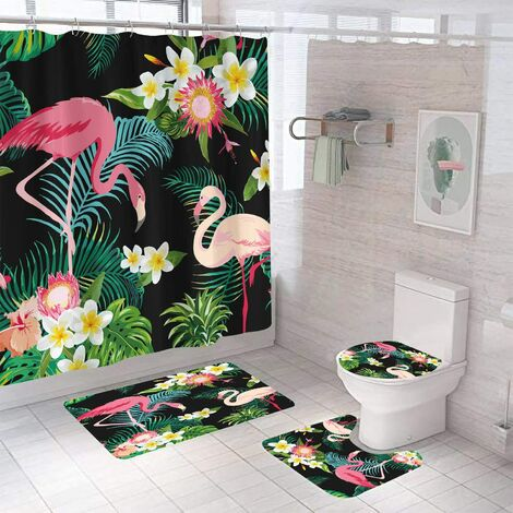 """main image of """"4 Pcs Flamingo Shower Curtain with Non-Slip Rug,Toilet Lid Cover, U Mat, Bath Mat and Shower Curtain with 12 Hooks,Leaf Waterproof Rainforest Shower Curtain Sets for Bathroom (Black Flamingo)"""""""