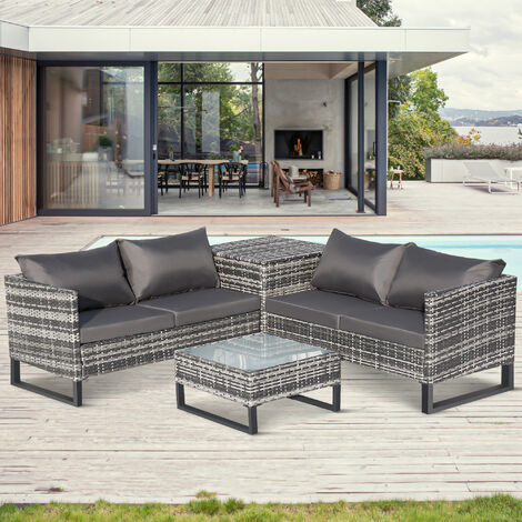 "main image of ""4 PCs Garden Rattan Coner Sofa Set Outdoor Furniture Patio Sofa with Large Storage Box, Grey"""