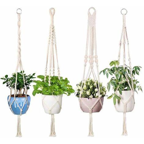 4 PCS Hanging Rope Macrame Plant, Cotton Rope Hanging Pot Plant Holder Garden Decoration with 4 Hanging Hooks, 105cm (Beige)