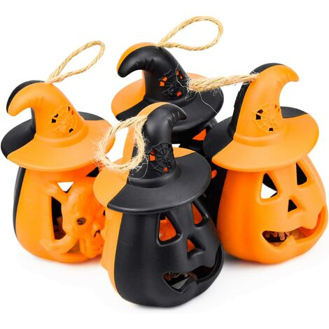 4 Pcs LED Pumpkin Lights, Halloween Pumpkin Lantern LED Candles Indoor Outdoor Decoration for Halloween Christmas Easter, Black + Orange