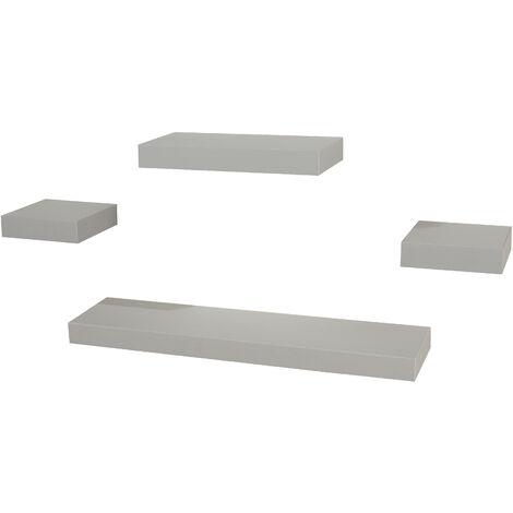 4 pcs narrow wall shelf set - light grey