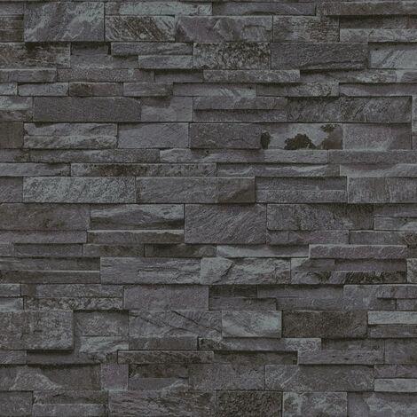 4 pcs Non-woven Wallpaper Rolls Black 0.53x10 m Brick