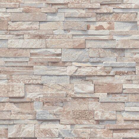 4 pcs Non-woven Wallpaper Rolls Brown and Grey 0.53x10 m Brick