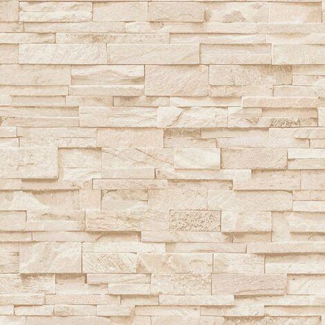 4 pcs Non-woven Wallpaper Rolls Cream 0.53x10 m Brick
