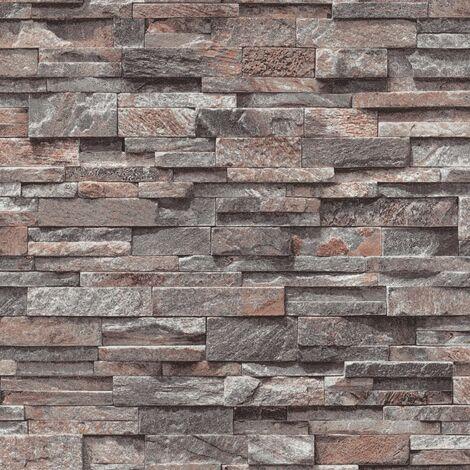 4 pcs Non-woven Wallpaper Rolls Dark Grey 0.53x10 m Brick