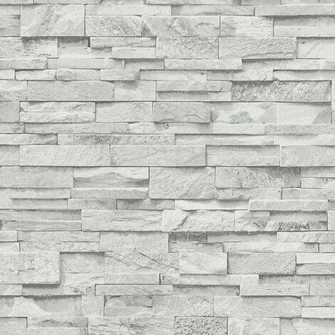 4 pcs Non-woven Wallpaper Rolls Grey 0.53x10 m Brick