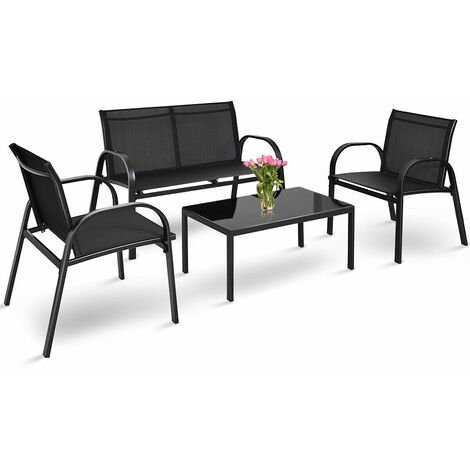 4 Pcs Patio Furniture Bistro Set Outdoor All-Weather Conversation Chair TableSet