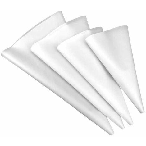 4 Pcs Poche à Douille Réutilisable en Silicone Taille Extra Large/ Large/ Moyenne/ Petite Poche à Douille Professionnelles pour Glaçage et Décoration de Gâteau - Blanc