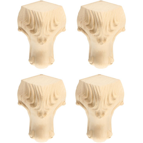 4 Pcs / Set 5X10 Cm European Style Solid Wood Carved Furniture Cabinet Feet Feet Hasaki