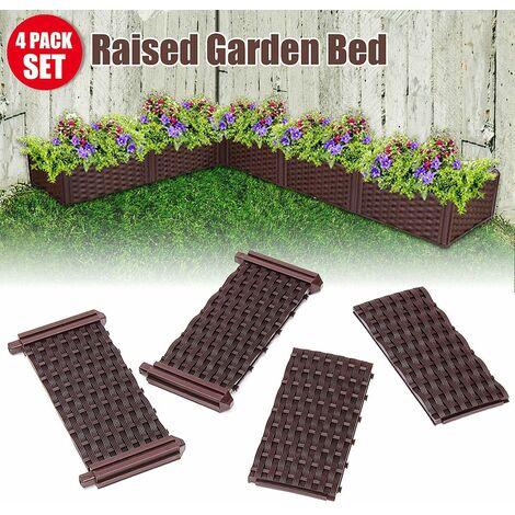 4 Pcs / set DIY Garden Plant Raised Fence Garden Bed Set Flower Vegetable Planter Box Kit Corrosion Resistance WASHED
