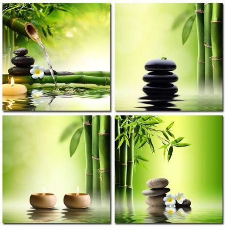 4 Pcs / Set Home Decor Canvas Print Pic Painting Wall Art Poster Green Zen Bamboo (No Frame)