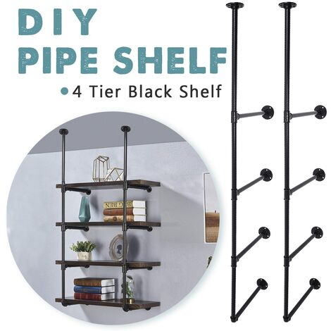 4 Pcs Sofas DIY Industrial Retro Iron Pipe Wall Shelf Storage Storage Racks Shelves Storage Shelf Organizer