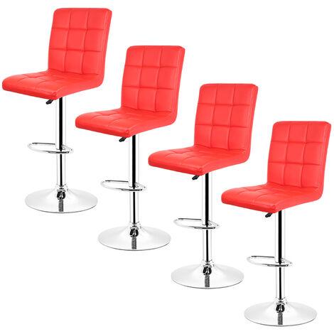 4 pcs tabouret de bar chaise longue comptoir bar chaise cuisine tabouret dinant - Rouge