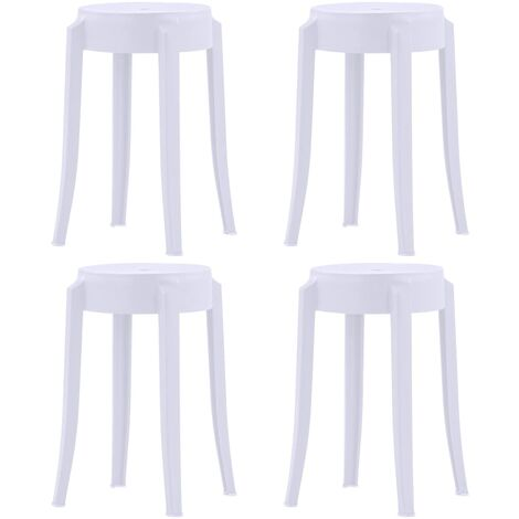 4 pcs Tabourets empilables Blanc Plastique