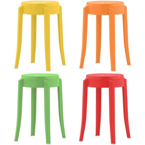 4 pcs Tabourets empilables Multicolore Plastique