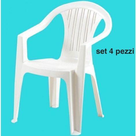 Sedie Per Esterno In Plastica.4 Pezzi Sedia Giardino Esterno Bar Plastica Poltrona Con Braccioli