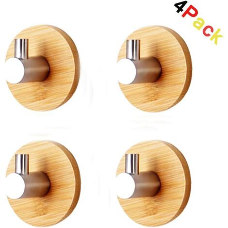 4 Piece Bamboo and Stainless Steel Self Adhesive Wall Hook Self Adhesive Hook Bathroom Kitchen Office Door