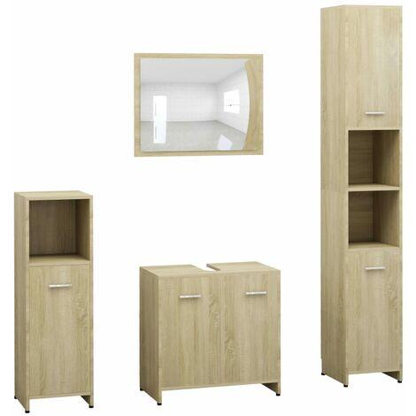4 Piece Bathroom Furniture Set Sonoma Oak Chipboard