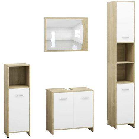 4 Piece Bathroom Furniture Set White and Sonoma Oak Chipboard