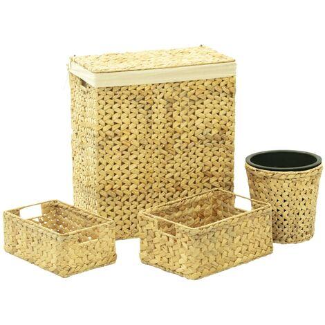 4 Piece Bathroom Set Water Hyacinth